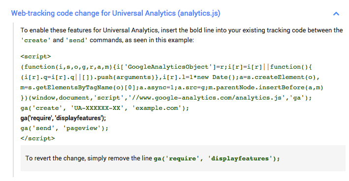 google analytics display features