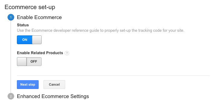 google analytics enable ecommerce settings