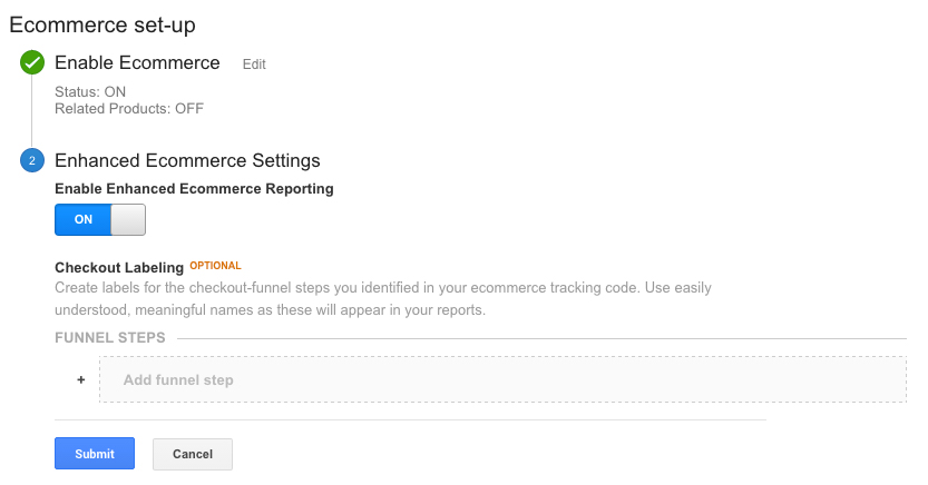 google analytics enhanced ecommerce settings