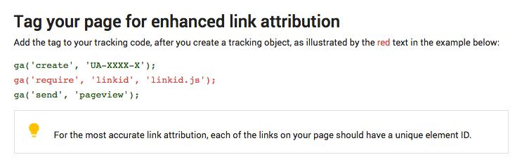 google analytics enhanced link attribution
