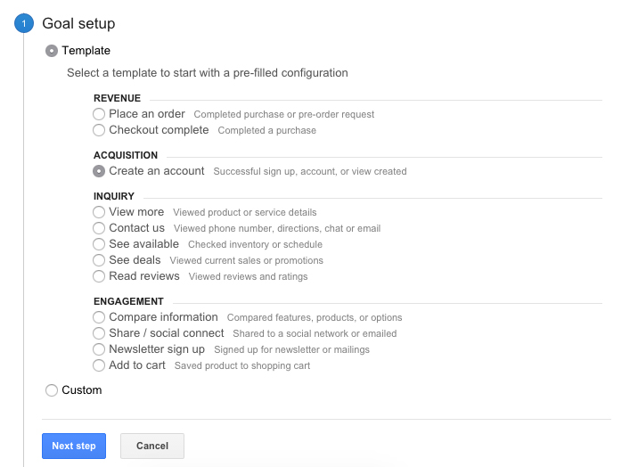 google analytics goal step 1