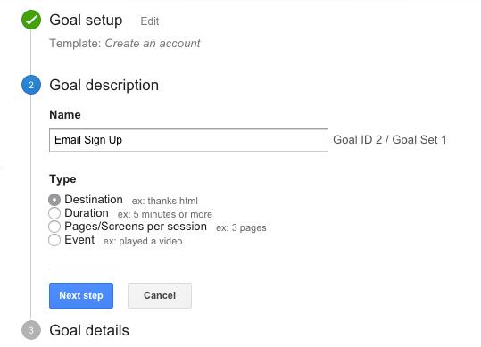 google analytics goal step 2