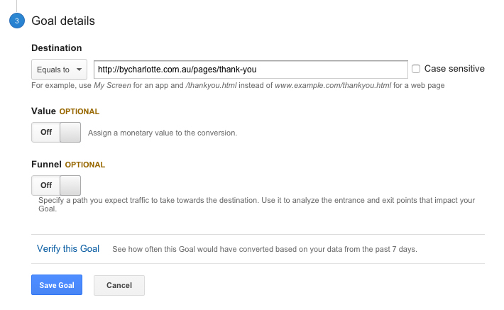 google analytics goal step 3