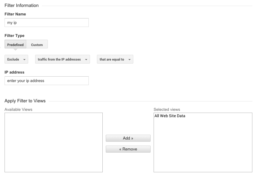 google analytics ip address filter