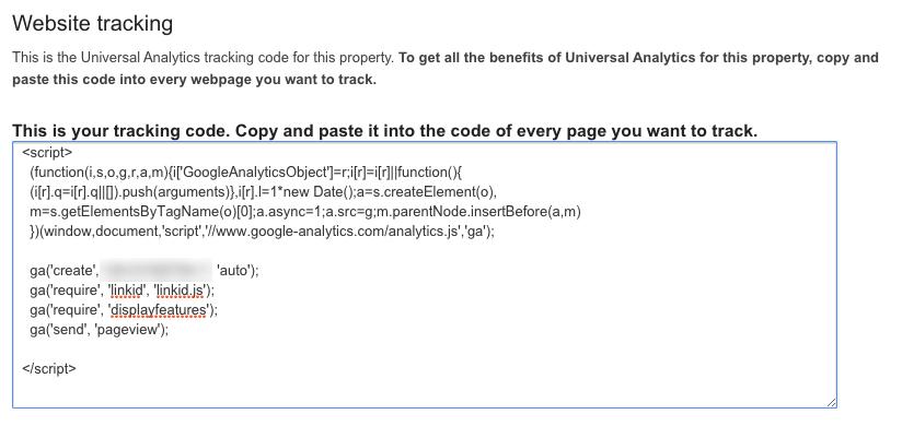 updated google analytics tracking code