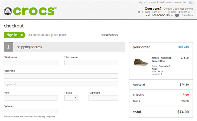 crocs guest checkout