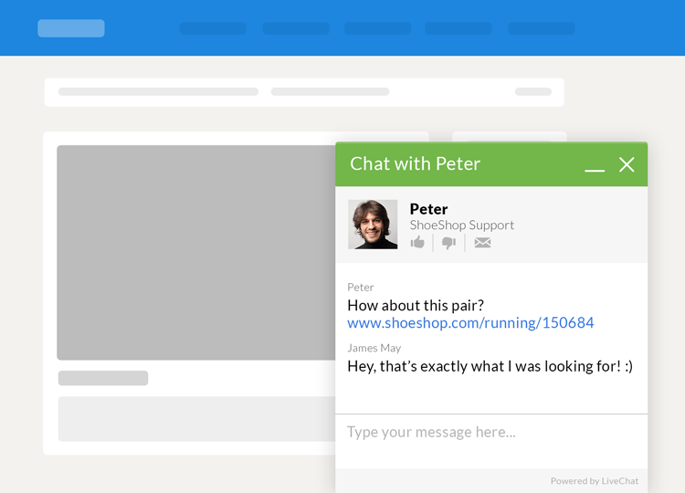 live chat window at checkout