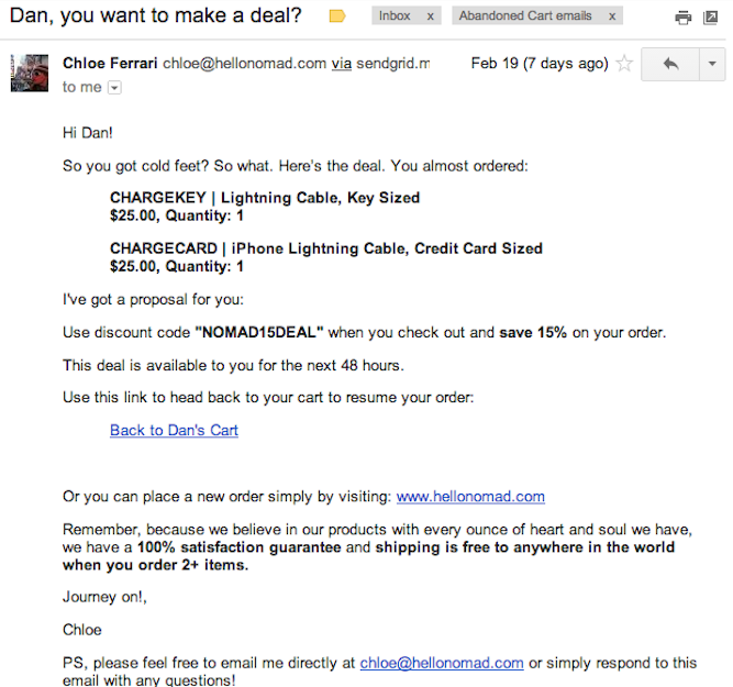 shopping cart abandonment email example discount