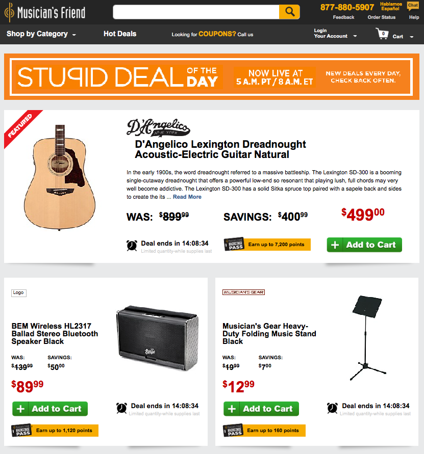 music equipment scarcity marketing
