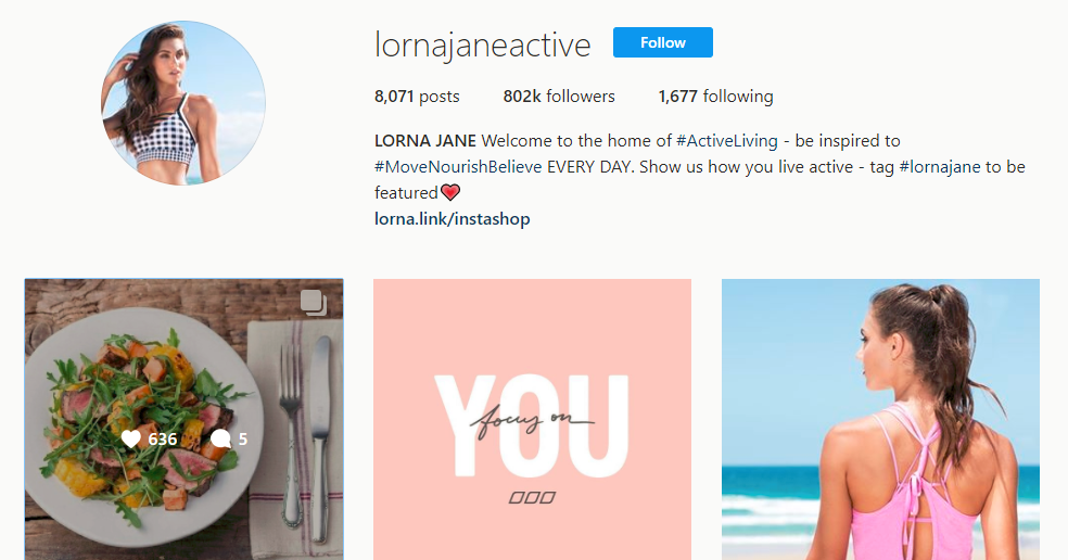 LORNA JANE Instagram