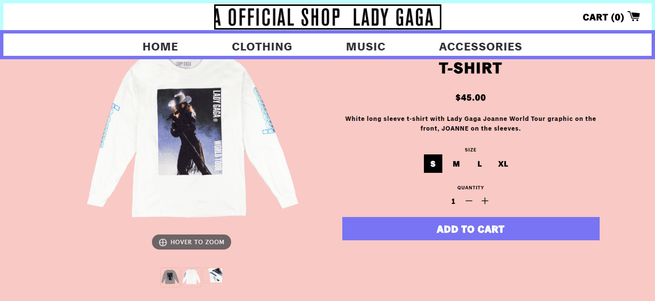 Lady Gaga Official Shop Shopify 2