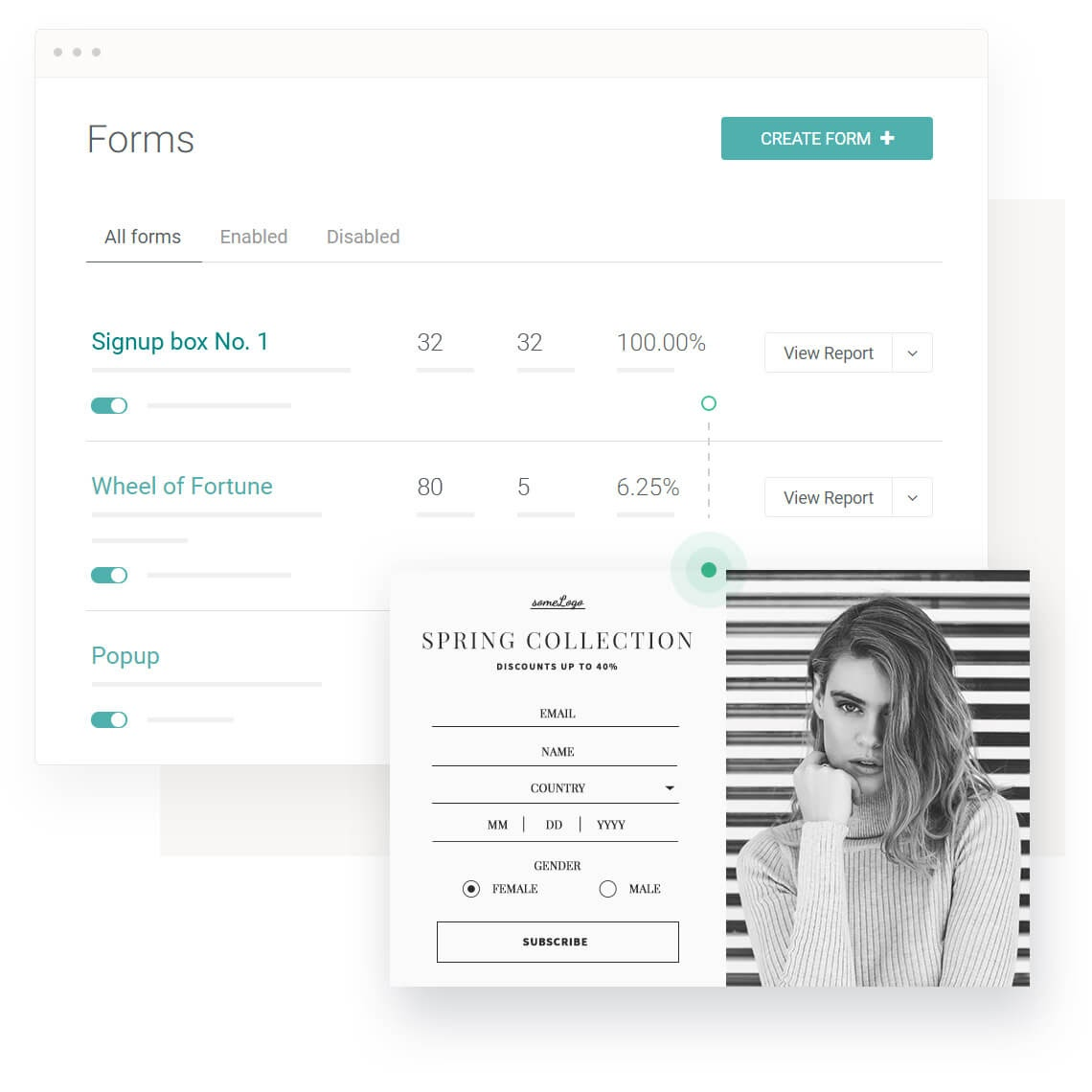 Features customizable forms